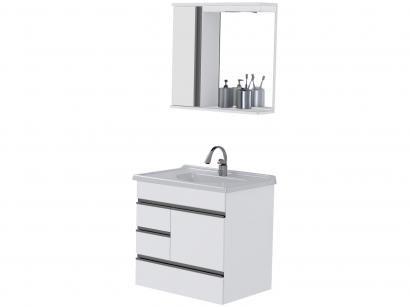 Armário de Banheiro Aéreo com Espelho 2 Portas - 3 Gavetas 1 Prateleira A. J. Rorato Moderna