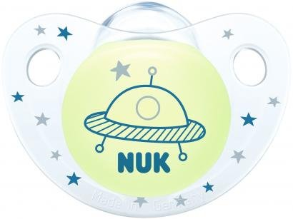 Chupeta Silicone Ortodôntico NUK Baby Care - Night & Day Boy Azul de 0 a 6 Meses