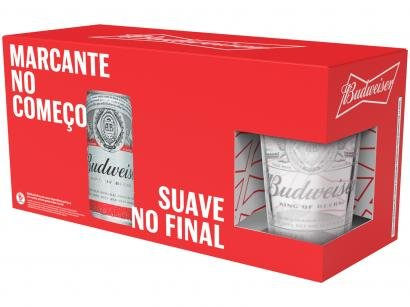 Cerveja Budweiser Kit American Standard Lager - 8 Unidades 269ml com 1 Copo