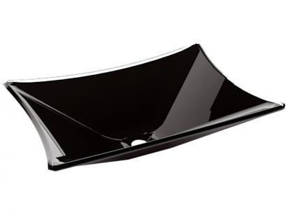 Cuba para Banheiro VB Cristais Simples de Vidro - de Apoio Retangular 40x28cm Preto