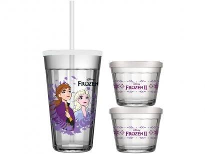 Kit Alimentação Infantil 3 Peças Frozen - Copo Americano Disney Frozen Cristalino