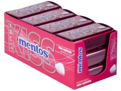 Pastilha Mentos Kiss Morango sem Açúcar 420g - Display
