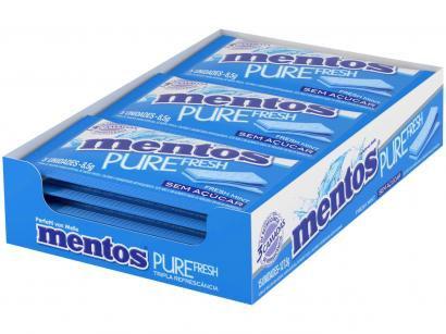 Goma de Mascar Mentos Pure Fresh 3 Camadas - Mint sem Açúcar 127,5g Display 15 Unidades