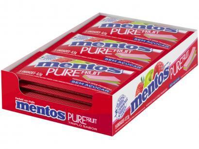 Goma de Mascar Mentos Pure Fruit 3 Camadas - Fruit sem Açúcar 127,5g Display 15 Unidades