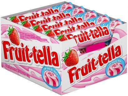 Bala Fruittella Swirl Morango com Creme de Leite - Vitamina C e Suco de Frutas 615g Stick 15 Unidades