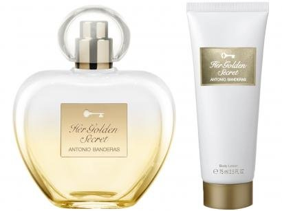Kit Perfume Antonio Banderas Her Gold Secret - Feminino Eau de Toilette 80ml com Loção 75ml 2 Uni