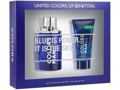 Kit Perfume Benetton Colors Man Blue Masculino - Eau de Toilette 100ml com Gel...