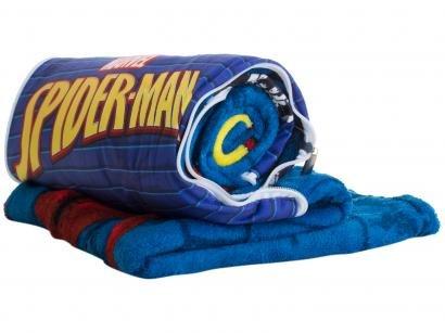 Manta Almofada Juvenil Jolitex Microfibra Marvel - Spider Azul