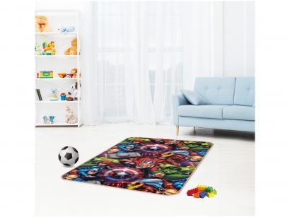 Tapete Infantil Vingadores para Quarto Retangular - Recreio Marvel 120x180cm Jolitex