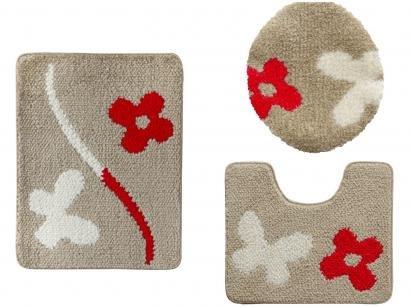 Jogo de Tapetes Flor para Banheiro Felpudo - Retangular Urban Hibisco Jolitex 3 Peças