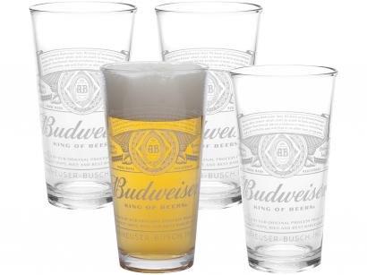 Jogo de Copos de Vidro para Cerveja 410ml - 4 Peças Budweiser