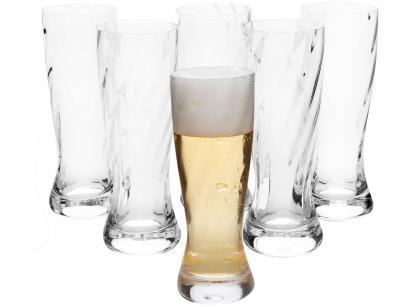 Jogo de Copos de Cristal para Cerveja Transparente - 189ml 6 Peças Oxford Catarina Twist 517