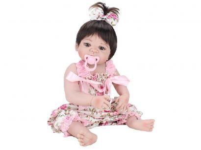 Boneca Reborn Laura Baby Mini Pink Flower - com Acessórios NPK Doll