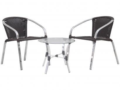 Conjunto de Mesa para Área Externa Alumínio - com 2 Cadeiras Famais Salinas