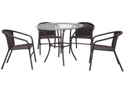 Conjunto de Mesa para Área Externa Ferro - com 4 Cadeiras Famais Salinas