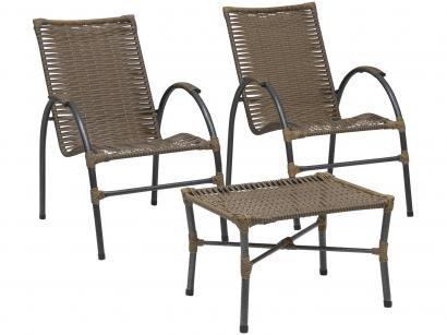 Conjunto de Mesa para Área Externa Ferro - com 2 Cadeiras Famais Onix