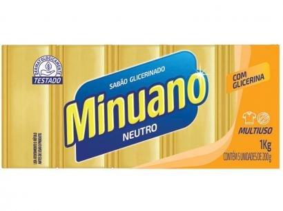 Sabão em Barra Minuano Neutro 1kg 5 Unidades