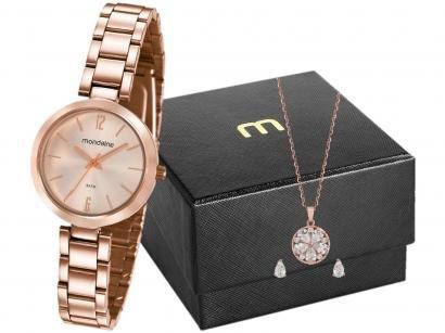 Relógio Feminino Mondaine Analógico - 53611LPMVRE2K1 Rosê Gold com Acessórios