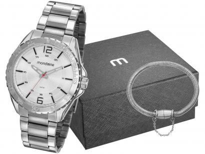 Relógio Masculino Mondaine Analógico - 53827G0MVNE2K1 Prata com Acessórios