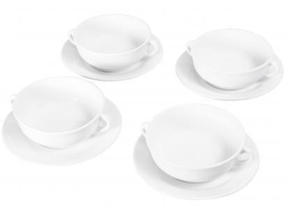 Conjunto de Bowls de Cerâmica Branco Scalla - 500ml Standard Liso 4 Peças