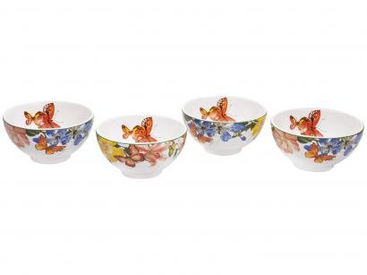 Conjunto de Bowls de Cerâmica Colorido Scalla - 500ml Concept Papillon 4 Peças