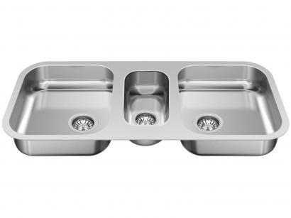 Cuba para Cozinha GhelPlus Tripla Inox de Embutir - Retangular 95,3x40cm Premium N3 - 2.5C