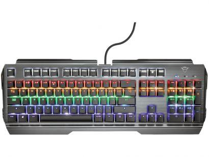 Teclado Mecânico Gamer USB Trust - RGB Cinza GXT 877 Scarr