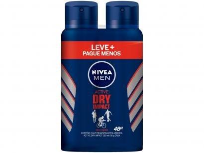 Desodorante Nivea Men Active Dry Impact Aerossol - Antitranspirante Masculino 150ml 2 Unidades