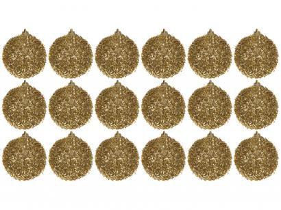 Bola de Natal Dourada com Glitter NATAL045M - Casambiente 6cm 18 Unidades