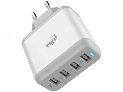 Carregador de Parede Carga Rápida Universal - 4 Entradas USB Elg Evolution WC48A