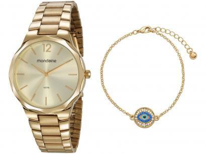 Relógio Feminino Mondaine Analógico - 53750LPMVDE1KB Dourado com Acessório