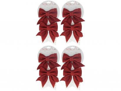 8 Laços de Natal Vermelho Gliter NATAL129V - Casambiente