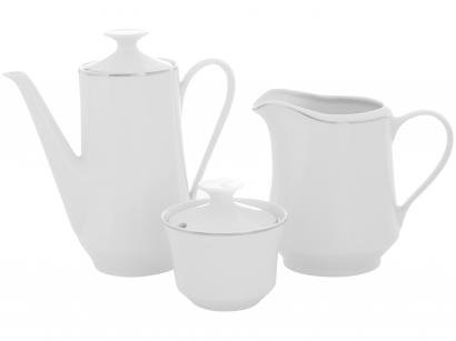 Aparelho de Café de Porcelana Schmidt Filete Prata - 3 Peças