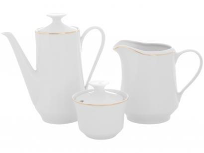 Aparelho de Café de Porcelana Schmidt Filete Ouro - 3 Peças