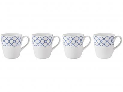 Jogo de Canecas de Porcelana Geométrico Azul - 225ml Schmidt Mosaico 4 Peças