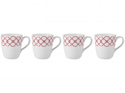 Jogo de Canecas de Porcelana Geométrico Vermelho - 225ml Schmidt Mosaico 4 Peças