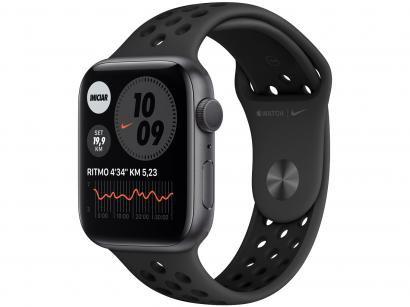 Apple Watch Nike Series 6 44mm Prateada GPS - Pulseira Esportiva Platina e Preta