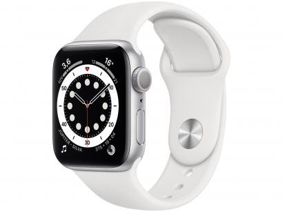 Apple Watch Series 6 40mm Prateada GPS - Pulseira Esportiva Branca
