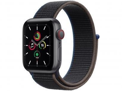 Apple Watch SE 40mm Cinza-espacial GPS + Cellular - Pulseira Loop Esportiva Carvão