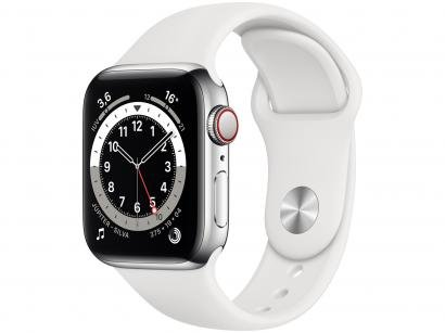 Apple Watch Series 6 40mm Prateada GPS + Cellular - Pulseira Esportiva Branca