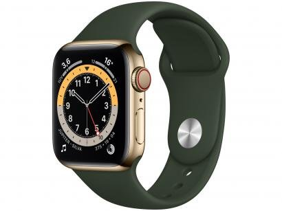 Apple Watch Series 6 40mm Dourada GPS + Cellular - Pulseira Esportiva Verde Chipre