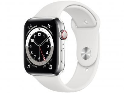 Apple Watch Series 6 44mm Prateada GPS + Cellular - Pulseira Esportiva Branca