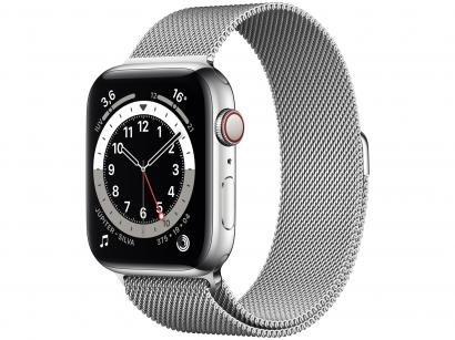 Apple Watch Series 6 44mm Prateada GPS + Cellular - Pulseira Estilo Milanês Prateada