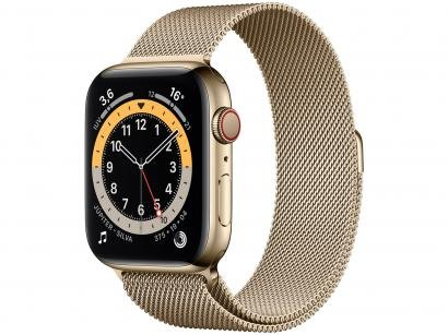 Apple Watch Series 6 44mm Dourada GPS + Cellular - Pulseira Estilo Milanês Dourada