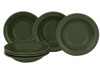 Jogo de Pratos Redondo de Cerâmica Verde Fundo - Cerâmica Scalla Bolinha 6 Peças