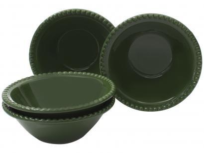 Conjunto de Bowls de Cerâmica Verde - Cerâmica Scalla 500ml Bolinha 4 Peças