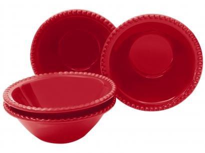 Conjunto de Bowls de Cerâmica Vermelho - Scalla Cerâmica 500ml Bolinha 4 Peças