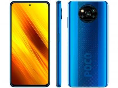 "Smartphone Xiaomi Poco X3 NFC 64GB Azul Octa-Core - 6GB RAM Tela 6,67"" Câm. Quádrupla + Selfie 20MP"