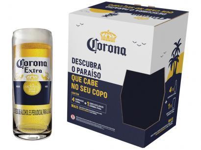 Kit Cerveja Corona Lager 4 Unidades 330ml com Copo - 104039