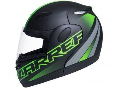 Capacete de Moto Articulado Taurus Zarref - V5 NEON Preto Fosco e Verde Tamanho 58